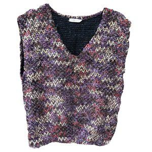 Vintage Item Eyes Womens Small Purple Sweater Vest V-Neck Pullover Academia